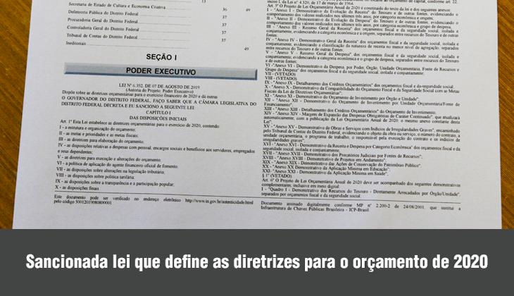 Sancionada lei que define as diretrizes orçamentár