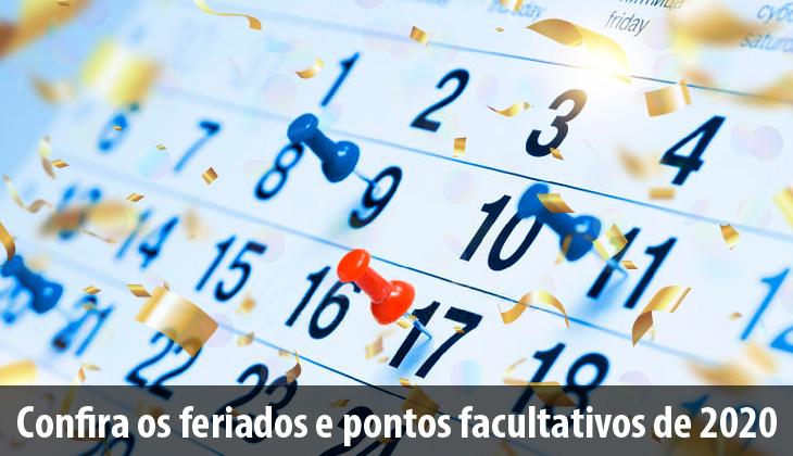 Calendário de Feriados e Pontos Facultativos de 20